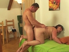 Brunette mature slut seduces her son in law and gets a good hot fucking from him