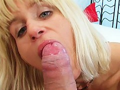 Experienced blondie mastering her blowjob skills